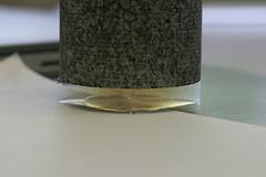 Closeup of granite block on aerogel slab