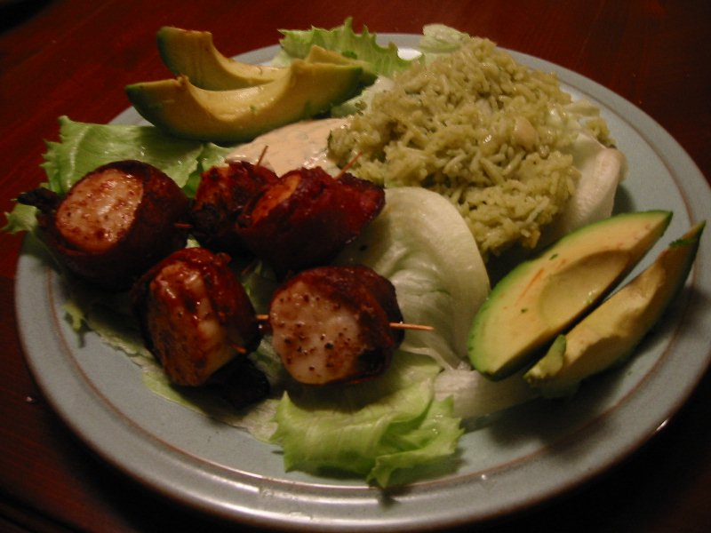 Bacon-wrapped scallops with spicy chipotle mayo, green ric… | Flickr ...