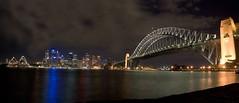Sydney Harbour skyline and bridge at Night