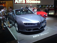executive car(0.0), automobile(1.0), automotive exterior(1.0), alfa romeo(1.0), exhibition(1.0), wheel(1.0), vehicle(1.0), automotive design(1.0), alfa romeo 159(1.0), alfa romeo brera(1.0), auto show(1.0), land vehicle(1.0), luxury vehicle(1.0), supercar(1.0), sports car(1.0),