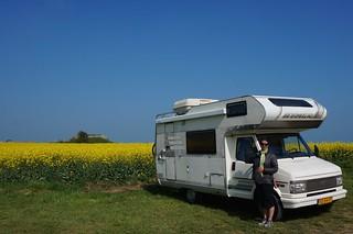 Caroline and camper at Longues-sur-Mer battery