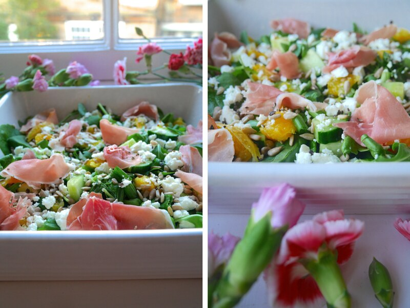UK food healthy recipe blog lunch ideas parma ham feta orange salad