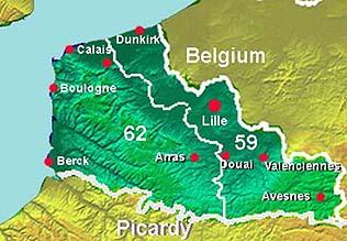 Mapa Nord-Pas de Calais (Norte de Francia)