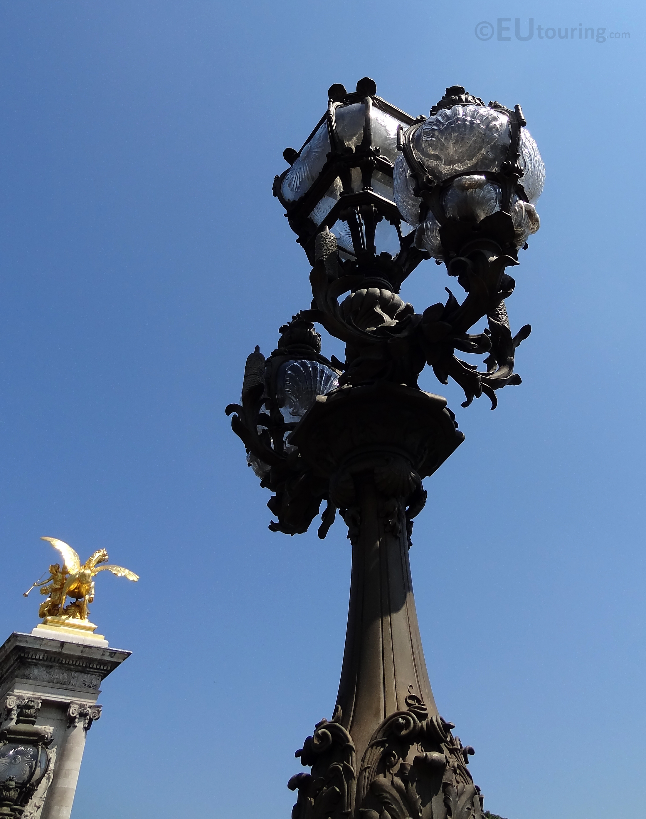 Ornate lamp post and glass work