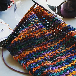 My #racetrackknitting today is #painted #scarf #handknit #knitstagram #instaknit #knittersofinstagram #theloopyewe #getyourkniton