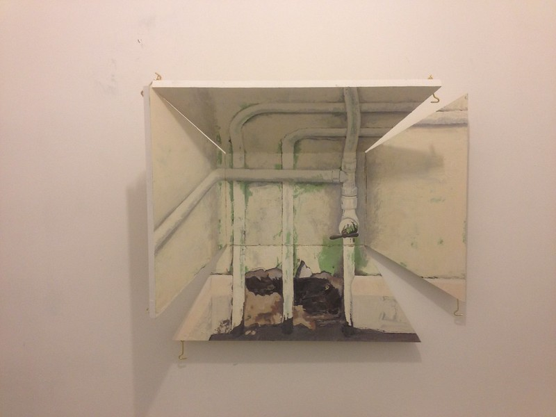 Pipewerk, 2014, Oil on hinged board, 70x60x20cm