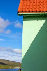 Light and shadow on a house in Í Trøðum at Sandur in Sandoy, Froe Islands