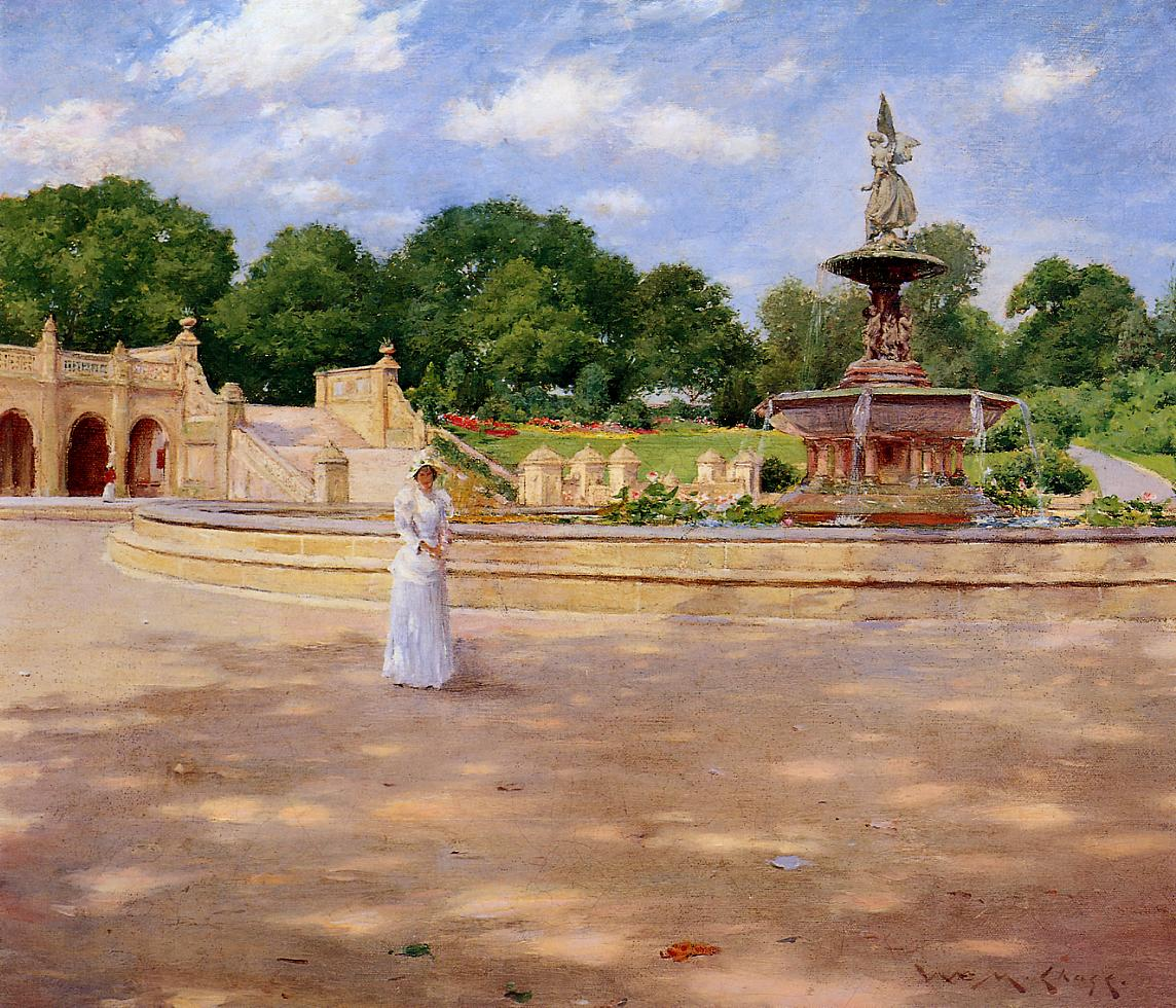 An Early Stroll in the Park by William Merritt Chase, c.1890