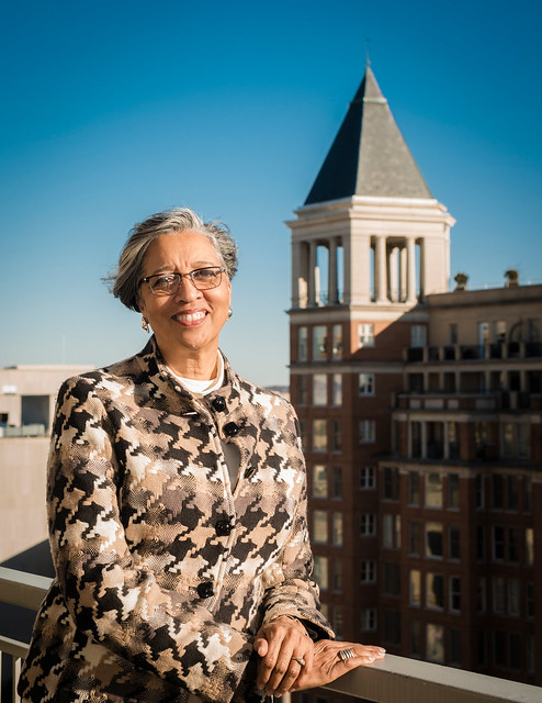 A photo of Nancy Ware on the roof of her office building.