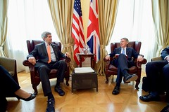 U.S. Secretary of State John Kerry sits with British Foreign Secretary Philip Hammond on July 2, 2015, in Vienna, Austria, before a bilateral meeting amid the P5+1 negotiations with Iranian officials about the future of their nuclear program. [State Department photo/ Public Domain]