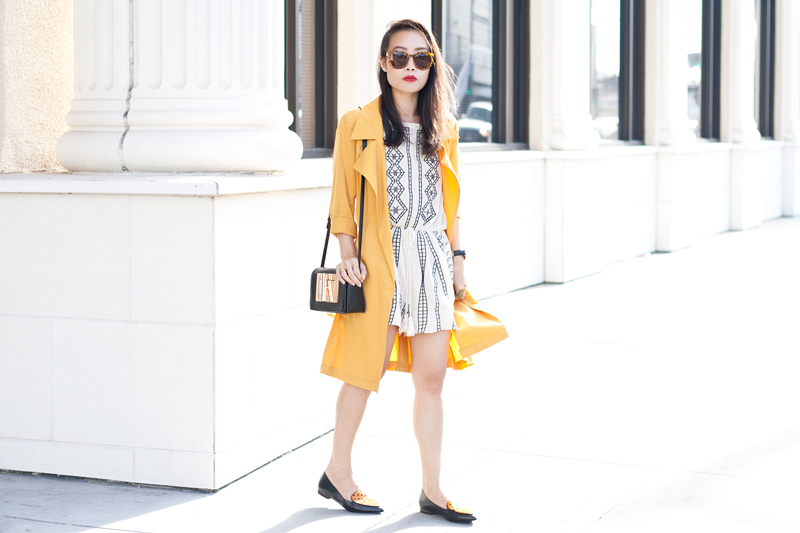 01-mustard-trench-romper-loafers-fashion-style-sf-sanfrancisco