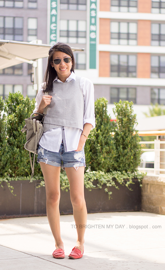 gray vest, white button up shirt, distressed shorts, red loafers
