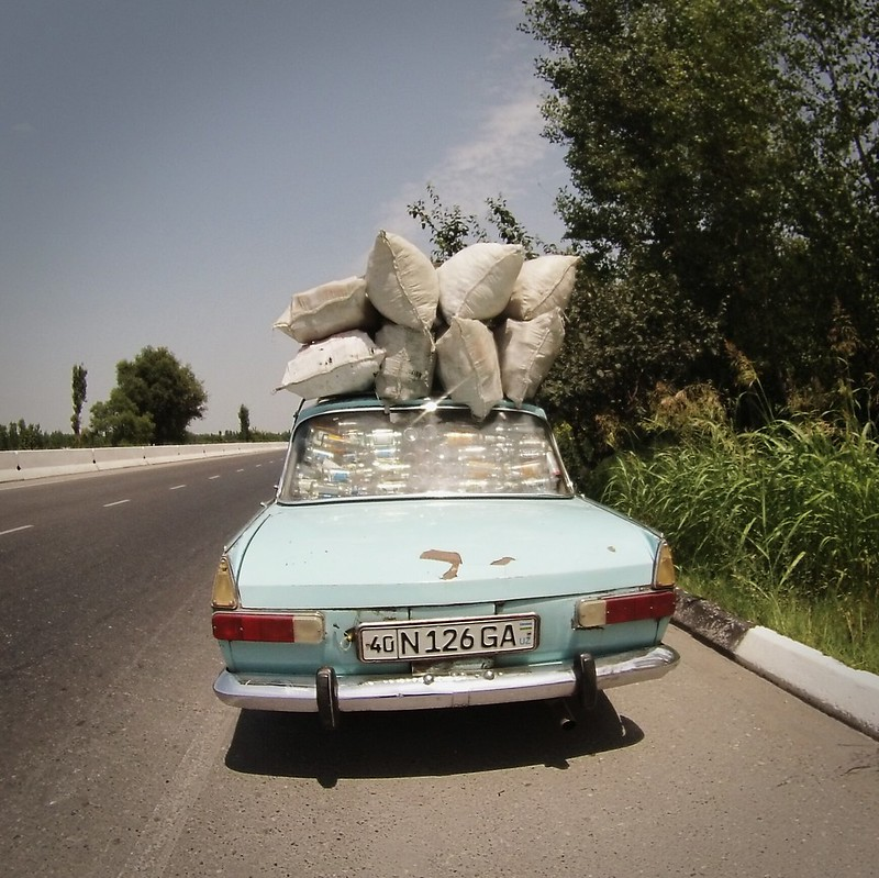 Uzbek car with bottles for second hand use