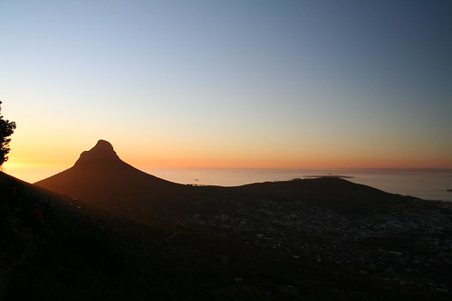 Striped Skies, Sunset during hike down Table Mountain