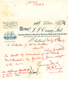 "Letter regarding death of sailor on ""Jessie Craig"" 1909"