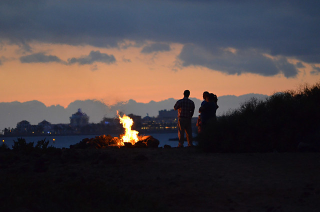 Bonfire on the beach, Noche de San Juan, Bahia Beach, Palm Mar, Tenerife