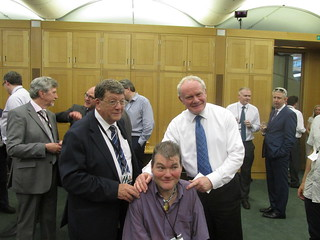 Pat Doherty and Martin McGuinness with disability rights campaigners.
