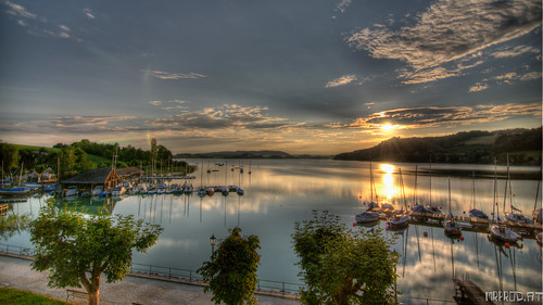 lake sunrise austria hdr mattsee