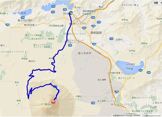 由河口湖車站至富士山頂的行動路線