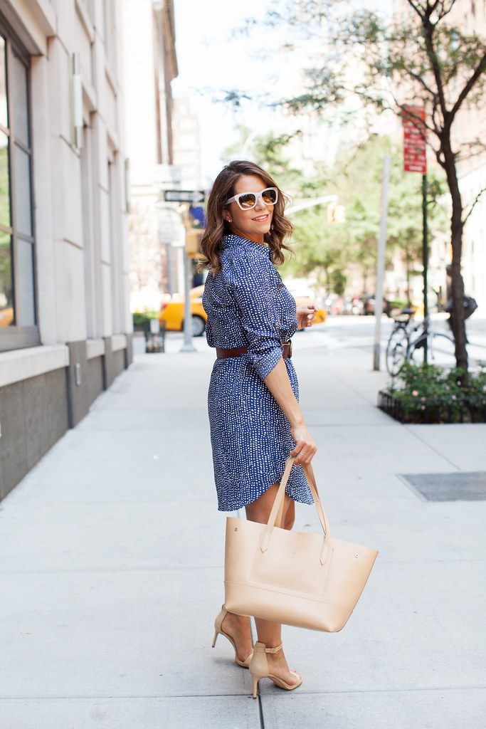 maison jules shirt dress polka dots nude sandals for the office belted shirtdress what to wear to work in the summer banana republic sunglasses jcrew tote corporate catwalk fashion blogger corporate blogger