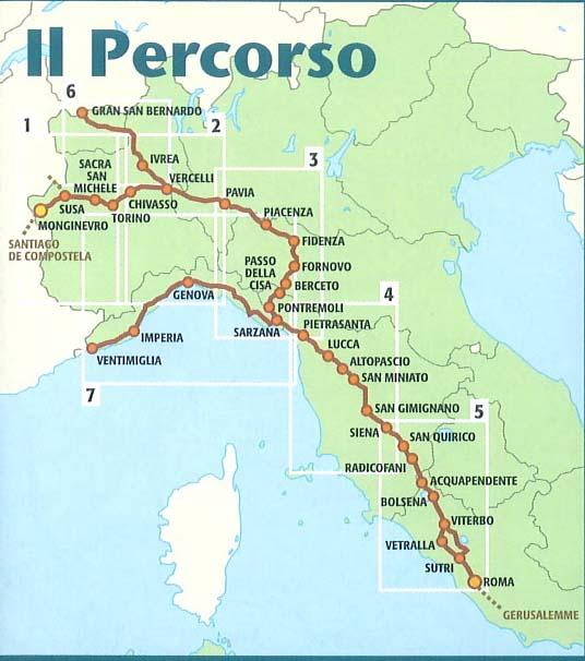 In bici sulla via dei pellegrini l'avventura di Giuseppe Dell'Aere-ViaFrancigenaPercorsoCartina