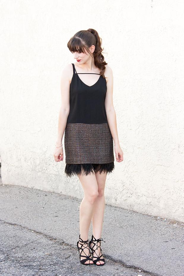 Tweed Feather Dress, Greylin Dress, Holiday Dress, Lace Up Heels