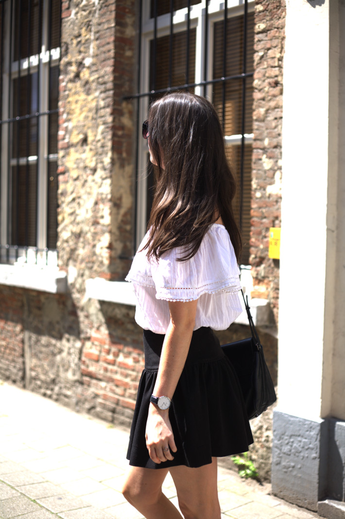 off shoulder top, flared skirt