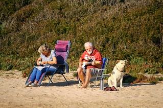 Image of Platja de la Móra. music electricguitar couple dog pet beach música guitarraeléctrica pareja perro playa lamora tarragona catalunya cataluña españ spain relax
