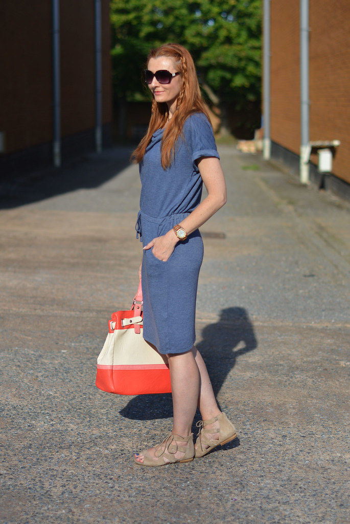 M&S blue tunic dress with suede lace up cuff sandals, colour block tote | Not Dressed As Lamb