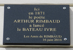 Photo of Arthur Rimbaud black plaque