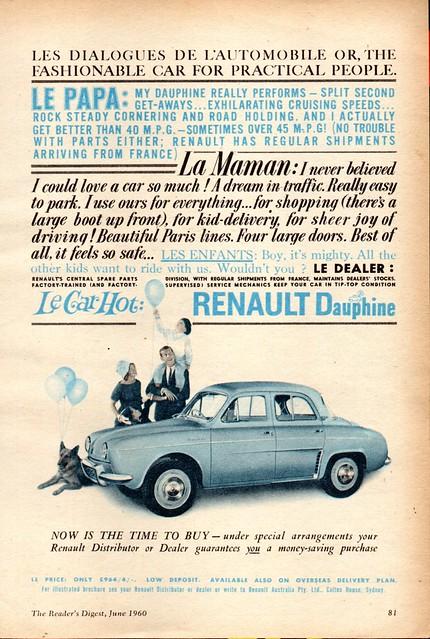 1960 Renault Dauphine Sedan Le Car Hot Aussie Original Magazine Advertisement