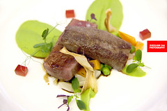 Venison Loin With Green Pea Purée & Salsify