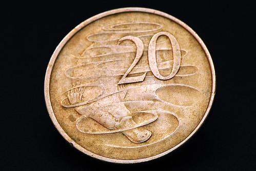 Münze Geldstück 20 Cent Australien Schnabeltier Makrofotografie Brigitte Stolle