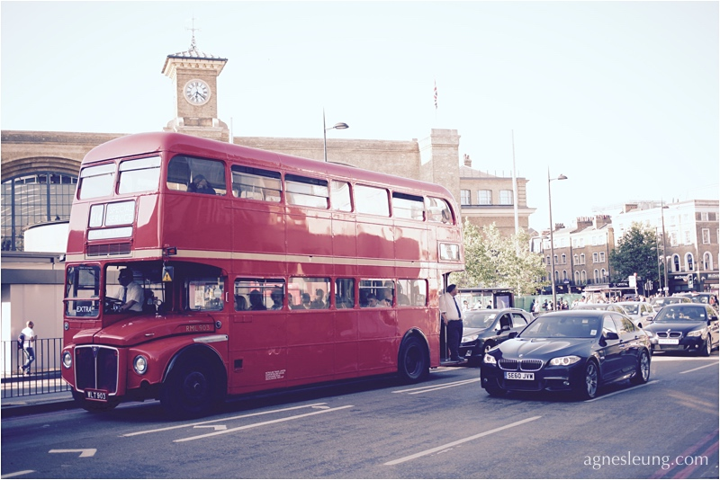A vintage bus on road, near Kings' Cross, London, UK
