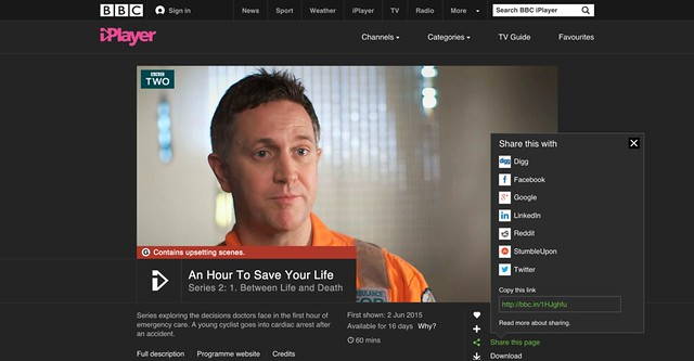 Sharing options on iPlayer