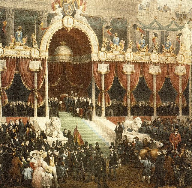 Leopold I taking the constitutional oath during his coronation, by Gustaf Wappers