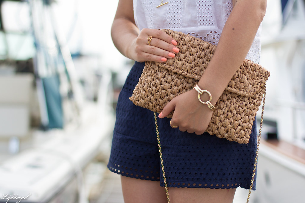 eyelet lace crop top and shorts, straw bag, white sandals-4.jpg