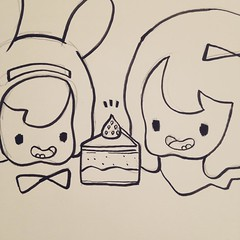 Working on ideas for a book plate. #drawingtime #doodle #cake #imboredletsdraw