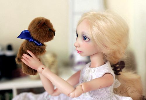 Alyonka artist bjd doll with miniature teddy bear Tot