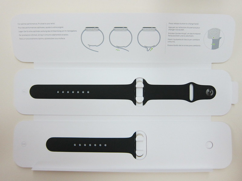 Apple Watch 42mm Black Sport Band - Box Contents Open