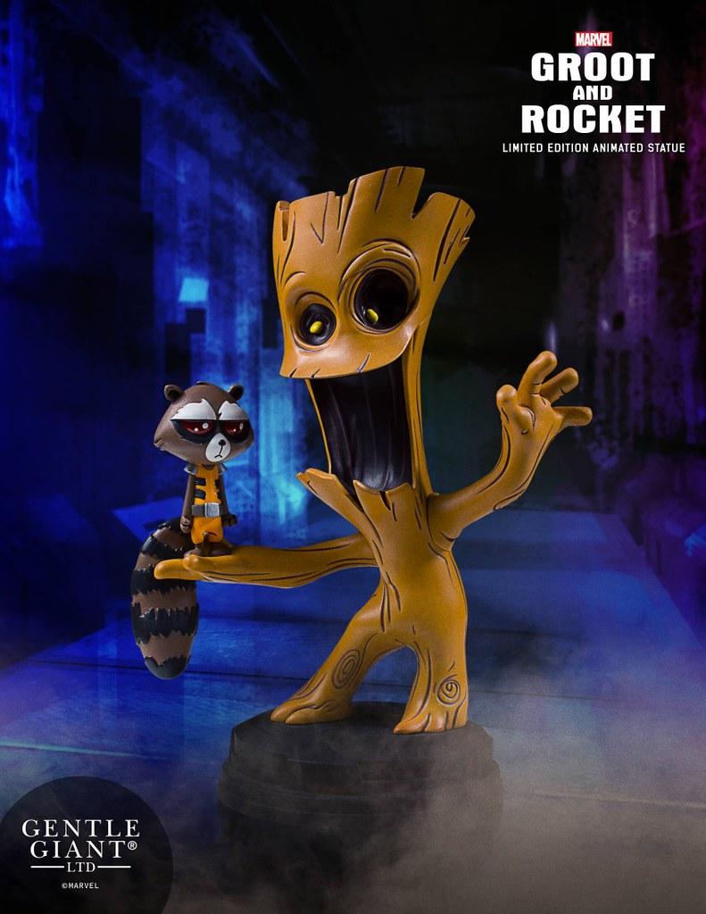Gentle Giant【樹人格魯特、火箭浣熊】Groot and Rocket Animated Statue 全身雕像作品
