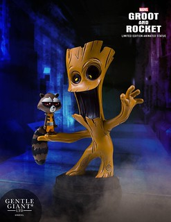 Gentle Giant【樹人格魯特、火箭浣熊】Groot and Rocket Animated Statue 全身雕像作品
