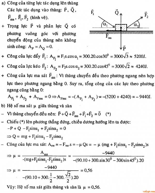 Bài tập công, công suất, vật lý phổ thông