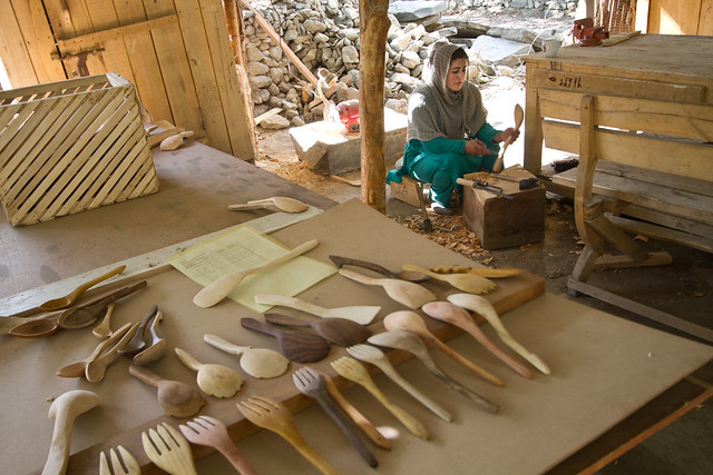 Fatima making spoons