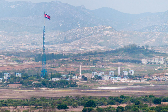 North Korea flag pole at 'Peace Village'.