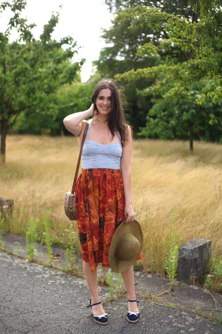 Outfit: straw hat, bustier top and vintage circle skirt