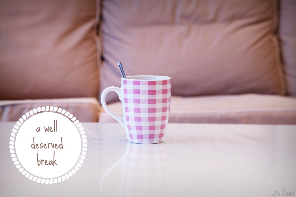 white pink gingham checkered mug coffee tea cup home ikea ektorp couch seat home living room break