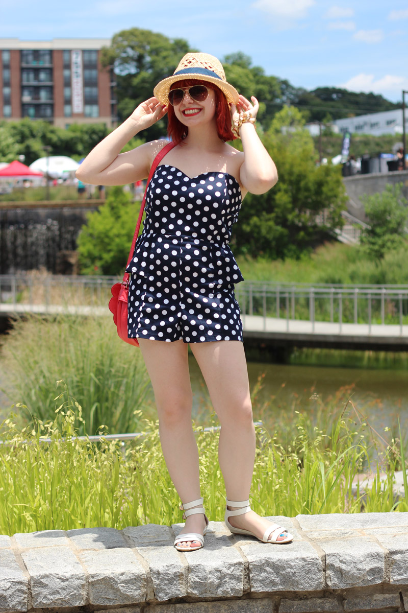Summer Outfit: Strapless Polka Dot Romper with a Peplum, White Sandals, Straw Hat, and Aviator Sunglasses