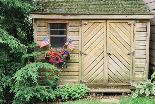 Patriotic shed.