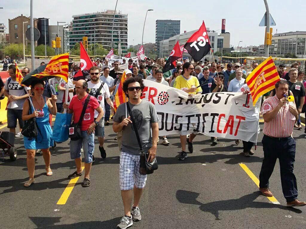 manifestació treballadors d´indra a bcn